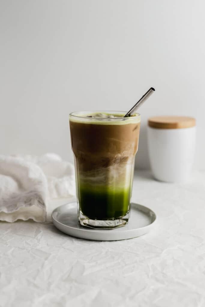 Stirred dirty matcha latte.