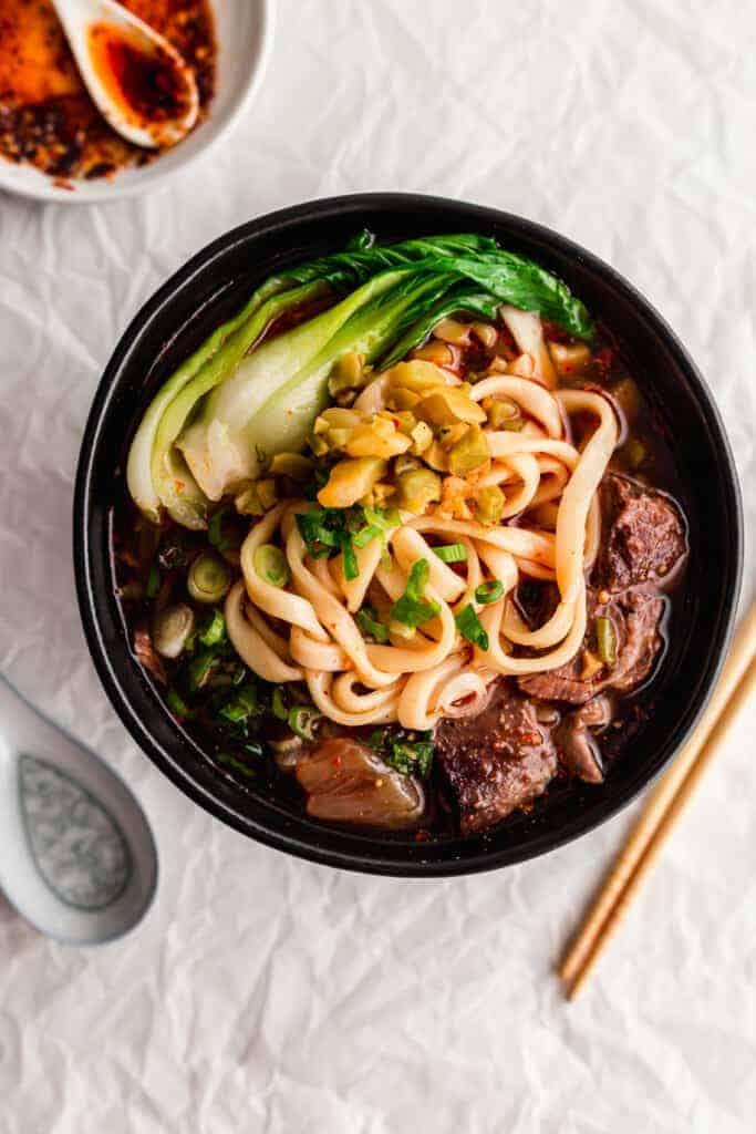 Close up of beef noodle soup.