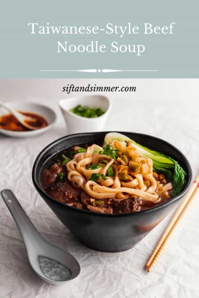 Taiwanese beef noodles in a black bowl, with text overlay.